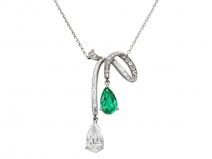 Diamond and Emerald Négligée Pendant in Platinum
