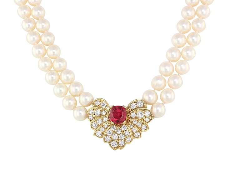 Video of Mikimoto Necklace with Spinel and Diamonds in 18K