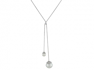 South Sea Pearl and Diamond Lariat Necklace in 18K