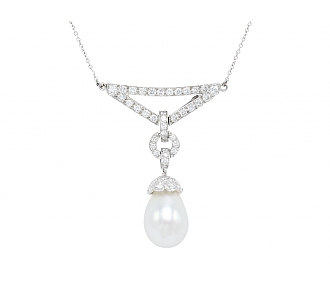 David Webb Pearl and Diamond Pendant Necklace in Platinum