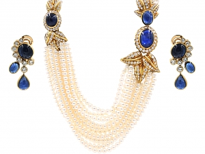 Eric Bertrand Sapphire, Diamond and Pearl Necklace and Earrings in 18K