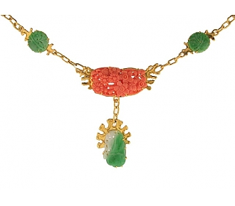Jean Mahie Carved Coral and Jadeite Necklace in 22K