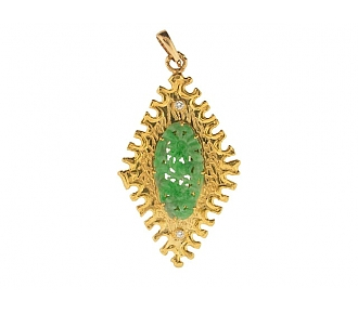 Carved Jadeite and Diamond Pendant in 22K