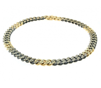 Faraone Chain Choker Necklace in 18K Blackened Gold