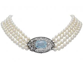 Antique Edwardian Aquamarine and Pearl Necklace in Platinum