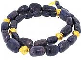 Sodalite Bead Necklace in 22K