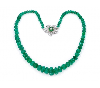 Emerald Bead Necklace with Diamond Flower Clasp in Platinum