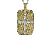 Bez Ambar Yellow Sapphire and Diamond Dog Tag Pendant in 18K