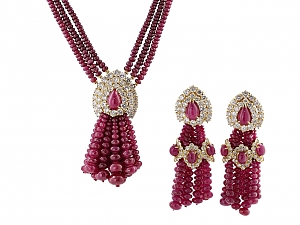 Ruby and Diamond Tassel Earrings and Necklace Set in 18K