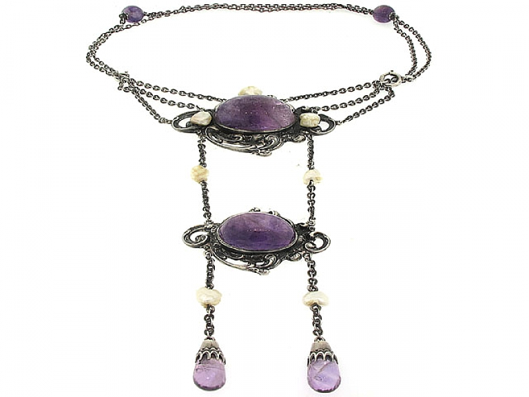 Video of Antique Arts and Crafts Amethyst Necklace in Sterling Silver