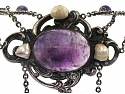 Antique Arts and Crafts Amethyst Necklace in Sterling Silver