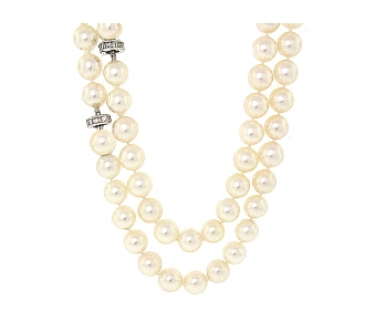 Cultured Pearl Strand with Diamond Clasp in 18k