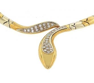 UnoAErre Diamond Snake Necklace in 18K