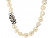 Baroque Ring Pearl Strand with Diamond Clasp in Platinum
