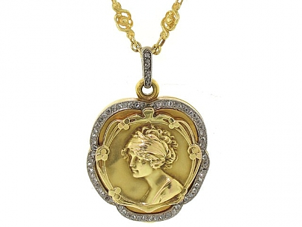 Antique Art Nouveau Diamond Locket Pendant in 18K