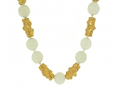 Jean Mahie White Agate Bead Necklace in 22K