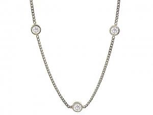 Diamond Station Necklace in Platinum