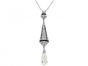 Art Deco Diamond Briolette Pendant in Platinum
