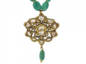 Emerald Bead and Diamond Mughal Necklace in 18K