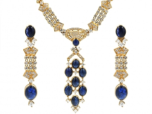 Sapphire and Diamond Necklace and Earrings in 18K