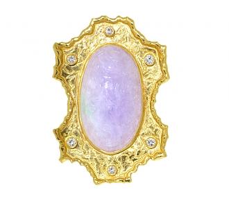 Lavender Jade and Diamond Pendant in 22K