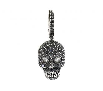 Sue Gragg Black Diamond Skull Pendant in 18K