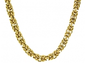 Long Byzantine Chain Link Necklace in 18K
