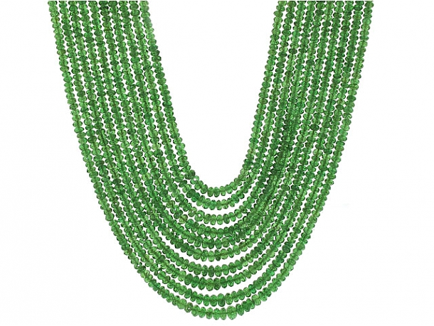 Emerald Bead Necklace in 22K