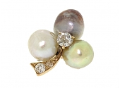 Antique Edwardian Natural Baroque Pearl and Diamond Pendant in 18K