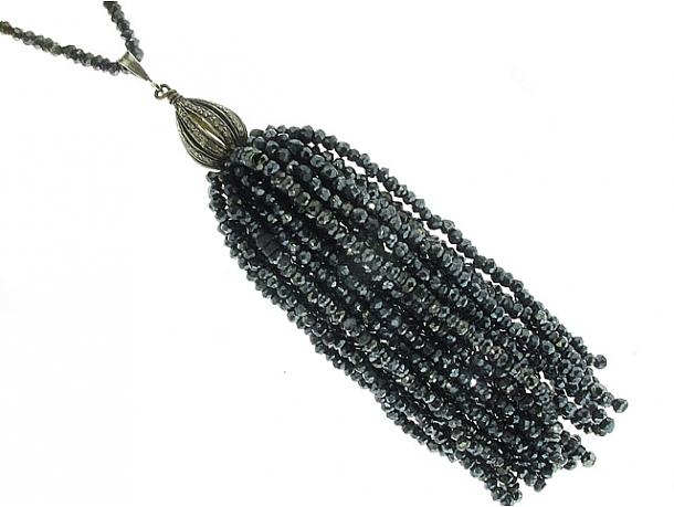 Hematite Tassel Necklace in Silver