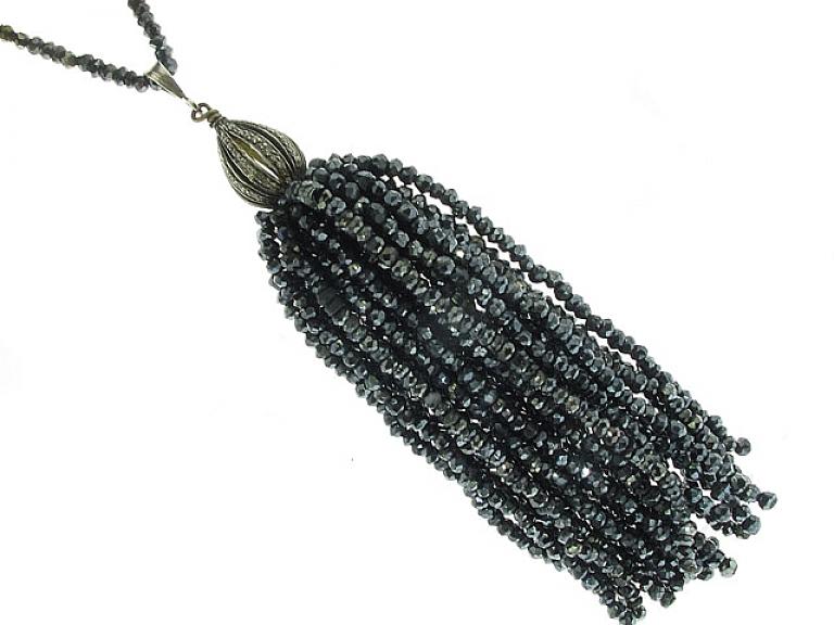 Video of Hematite Tassel Necklace in Silver