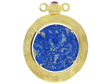 Elizabeth Gage Carved Sodalite and Ruby Pendant in 18K