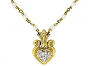 SeidenGang Seed Pearl and Diamond Heart Necklace in 18K
