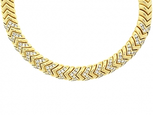 Bulgari Diamond Spiga Necklace in 18K