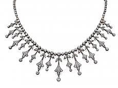 Antique Belle Epoque Diamond Necklace in Silver over Gold