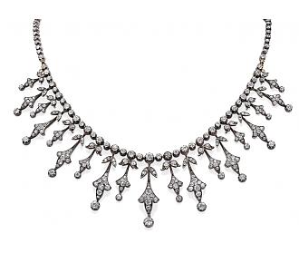 Antique Belle Epoque Diamond Necklace in Silver over Gold