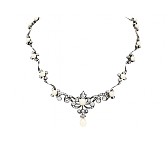 Antique Victorian Natural Pearl and Diamond Necklace