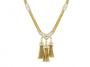 Enamel Tassel Necklace in 18K Gold