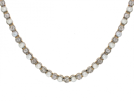 Antique Edwardian Natural Pearl and Diamond Necklace in 14K