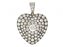 Antique Victorian Diamond Heart Pendant in Silver and Gold