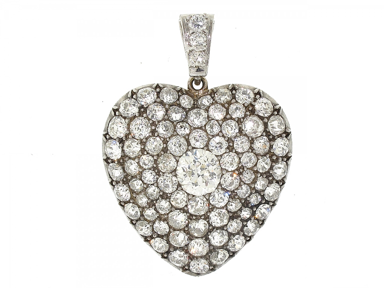 Video of Antique Victorian Diamond Heart Pendant in Silver and Gold