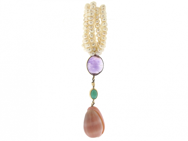 Marguerite Stix Amethyst, Pearl and Shell Pendant in 14K
