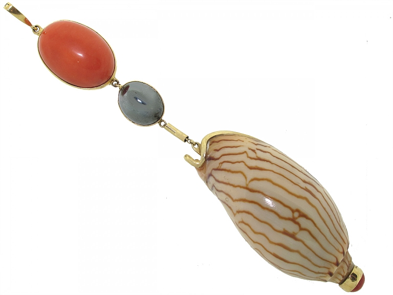 Video of Marguerite Stix Coral and Shell Pendant in 14K