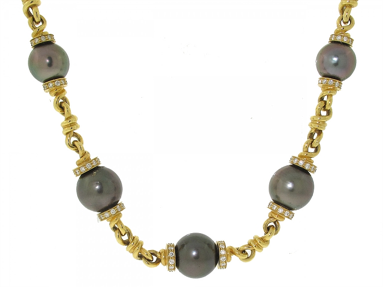 Video of Tahitian Pearl and Diamond Necklace in 18K