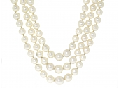 Triple Strand Cultured Pearl Necklace in 18K