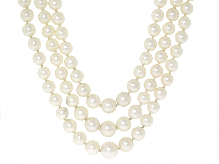 Video of Triple Strand Cultured Pearl Necklace in 18K