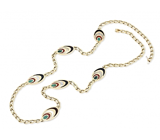 Bulgari Multi-Stone Chain Necklace in 18K