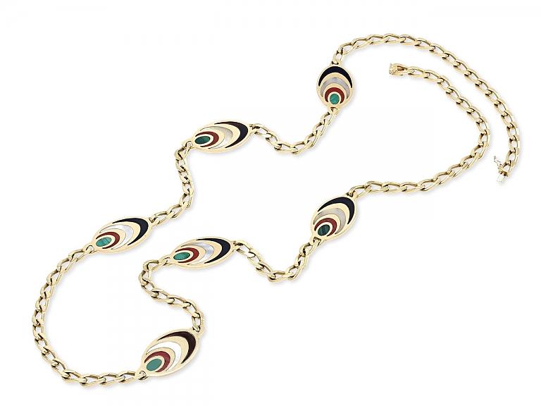 Video of Bulgari Multi-Stone Chain Necklace in 18K