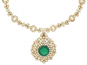 Diamond Necklace with Emerald and Diamond Pendant in 18K