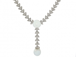 South Sea Pearl and Diamond Necklace in 18K